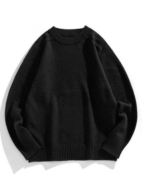 クルーネックラグランスリーブプルオーバーセーター - ブラック 3XL Mobile