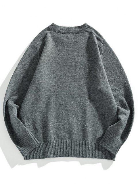 trendy Crew Neck Raglan Sleeve Pullover Sweater - DARK GRAY L Mobile