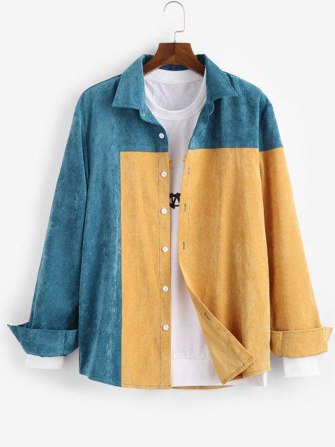 chic Colorblock Panel Long Sleeve Shirt - YELLOW XL Mobile