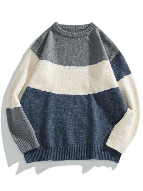 online Colorblock Graphic Crew Neck Sweater - DARK SLATE BLUE XL Mobile