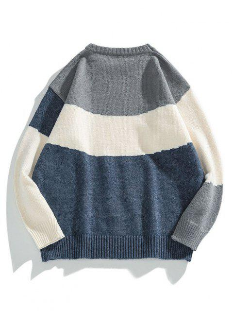 trendy Colorblock Graphic Crew Neck Sweater - DARK SLATE BLUE 3XL Mobile