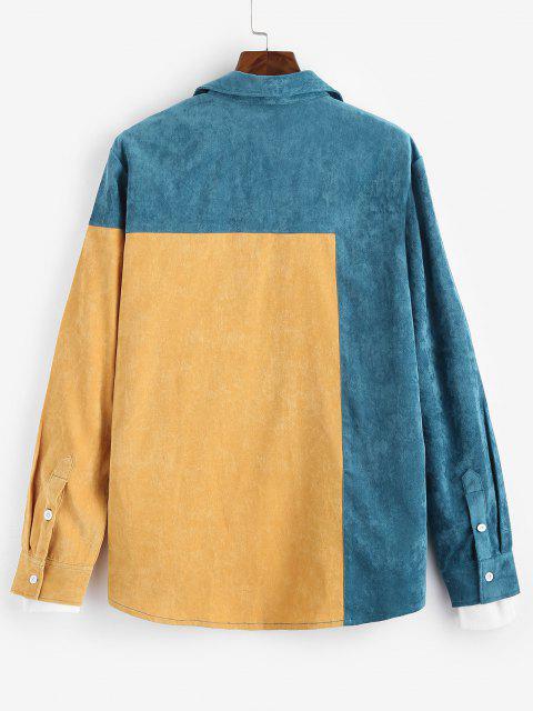 sale Colorblock Panel Long Sleeve Shirt - YELLOW L Mobile