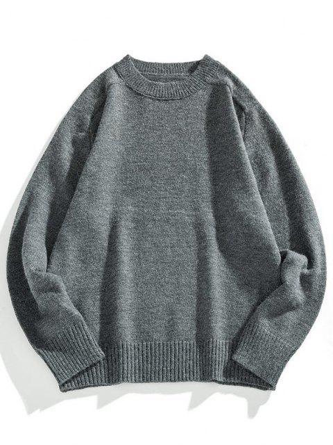buy Crew Neck Raglan Sleeve Pullover Sweater - DARK GRAY 3XL Mobile