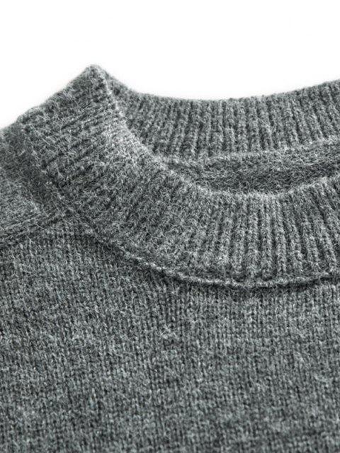 trendy Crew Neck Raglan Sleeve Pullover Sweater - DARK GRAY XL Mobile