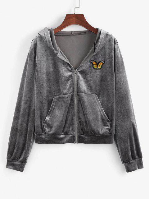 ZAFUL Hooded Butterfly Applique Velvet Zipper Jacket - اللون الرمادي L Mobile