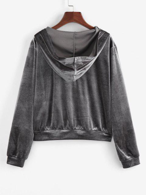 ZAFUL Hooded Butterfly Applique Velvet Zipper Jacket - اللون الرمادي XL Mobile