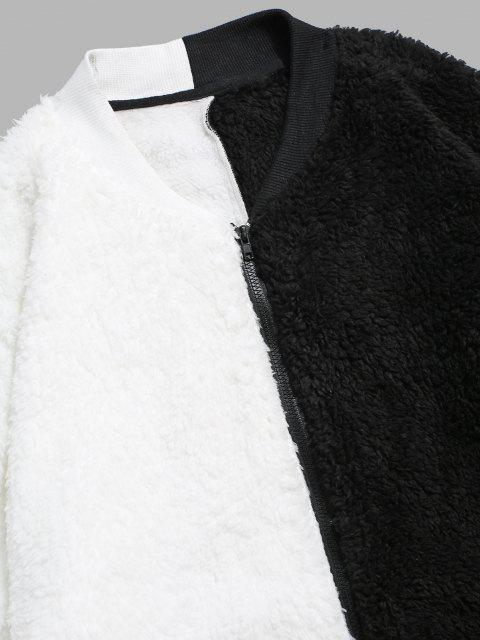 Flauschige Jacke mit Reißverschluss - Weiß XL Mobile