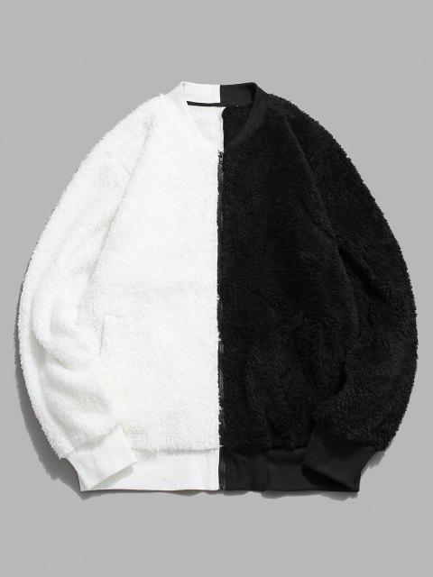 Veste Zippée Contrastée Fourrée - Blanc XL Mobile