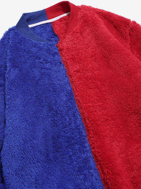 Flauschige Jacke mit Reißverschluss - Rot L Mobile