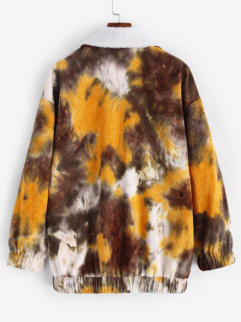 Tie Dye Print Faux Shearling Corduroy Jacket - قهوة L Mobile