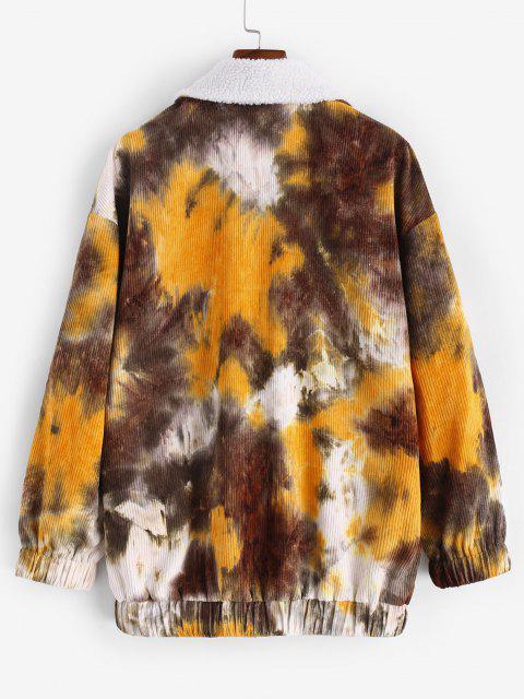 Tie Dye Print Faux Shearling Corduroy Jacket - قهوة XL Mobile