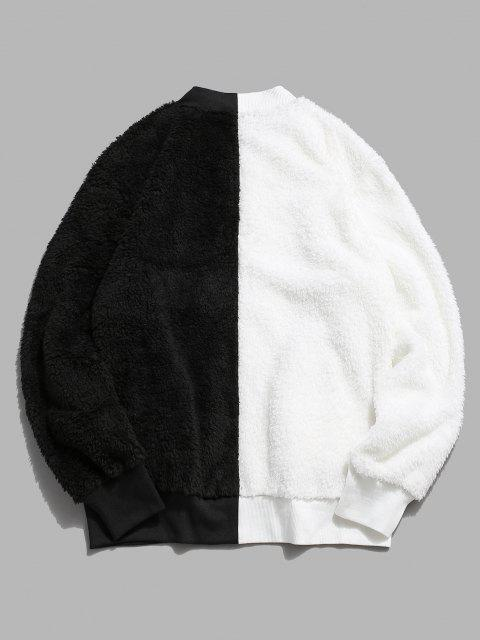 Zip Up Contrast Fluffy Jacket - أبيض L Mobile