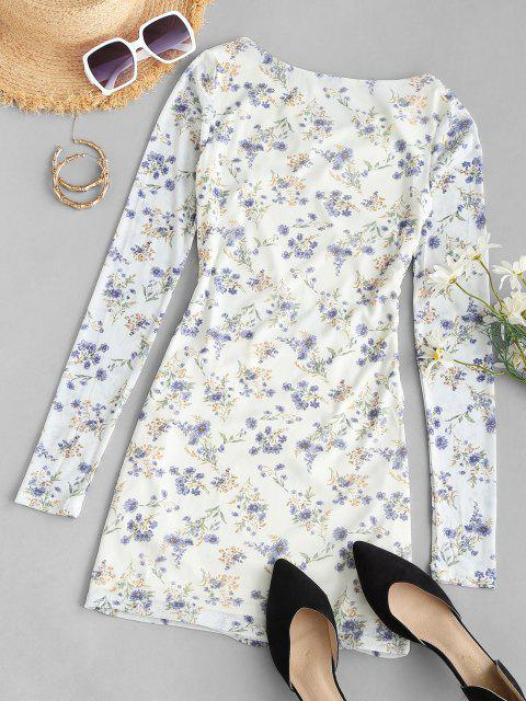 women's Tiny Floral Ruched Long Sleeve Bodycon Dress - WHITE ONE SIZE Mobile