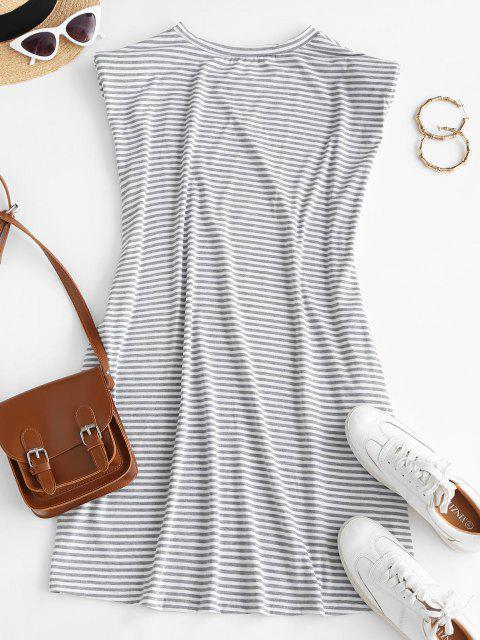 outfit Casual Stripes Shoulder Pads Mini Dress - WHITE S Mobile