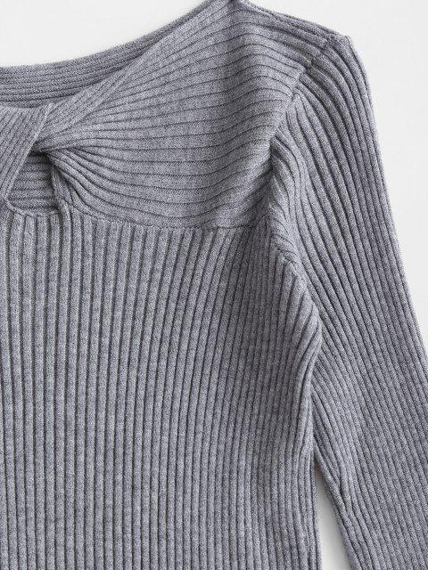 lady Ribbed Twist Front Basic Knitwear - GRAY ONE SIZE Mobile