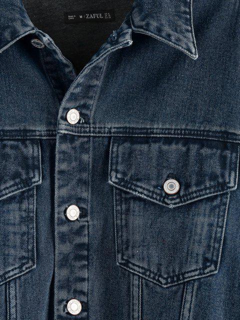 shop ZAFUL Drop Shoulder Frayed Hem Denim Jacket - DEEP BLUE S Mobile