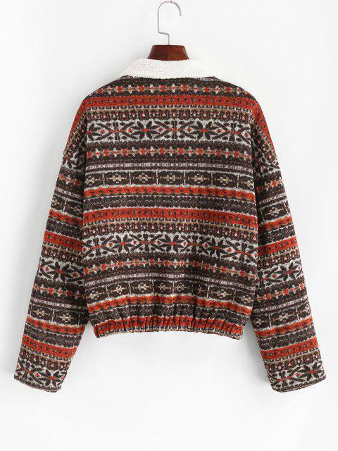 ZAFUL Faux Fur Lined Tribal Print Jacket - ديب براون M Mobile