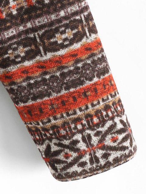 unique ZAFUL Faux Fur Lined Tribal Print Jacket - DEEP BROWN M Mobile