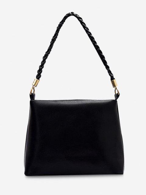 sale Weaving Belt PU Leather Tote Bag - BLACK  Mobile
