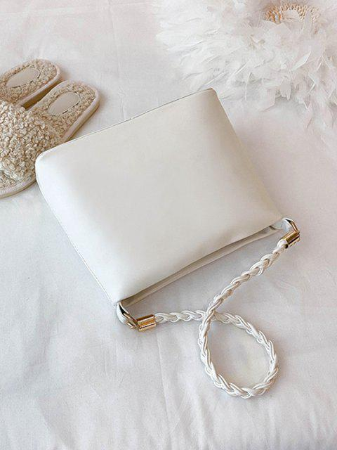 buy Weaving Belt PU Leather Tote Bag - MILK WHITE  Mobile