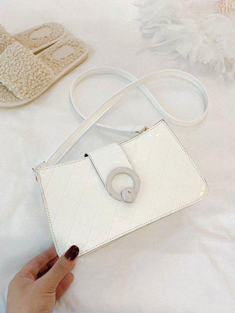 women Grid Stitching PU Leather Shoulder Bag - MILK WHITE  Mobile