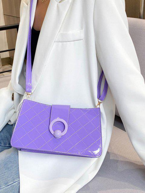 ladies Grid Stitching PU Leather Shoulder Bag - DARK VIOLET  Mobile