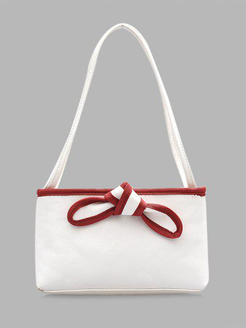 latest Bowknot Design PU Leather Tote Bag - MILK WHITE  Mobile