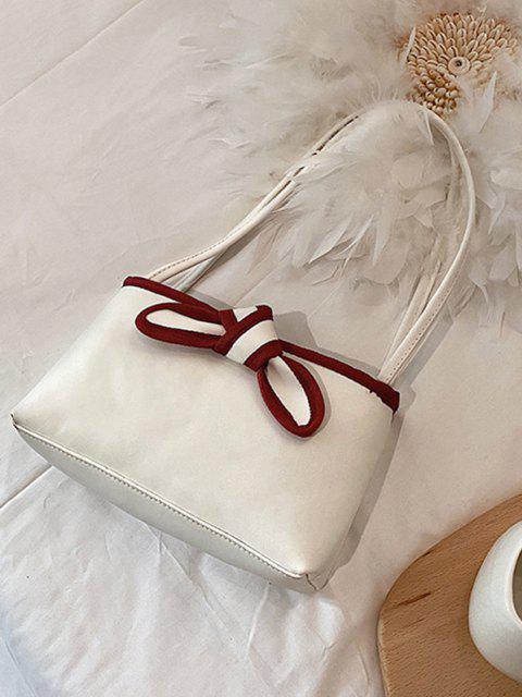 Bowknot Stil PU Leder Einkaufstasche - Milchweiß  Mobile