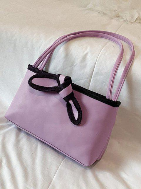 fancy Bowknot Design PU Leather Tote Bag - LIGHT PURPLE  Mobile