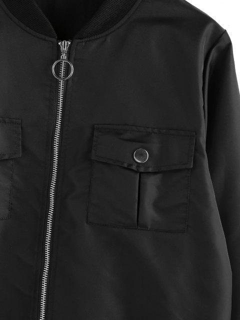 ZAFUL O Ring Zip Stehkragen Taschen Jacke - Schwarz M Mobile