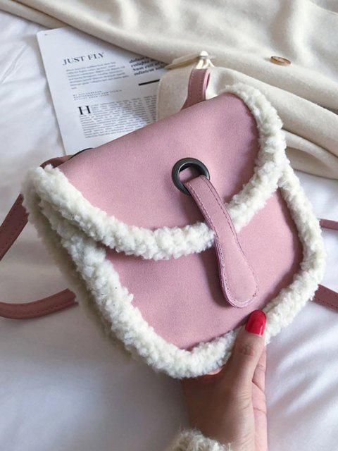 Sac de Sellette Portable en Fausse Fourrure Design - Rose Cochon  Mobile