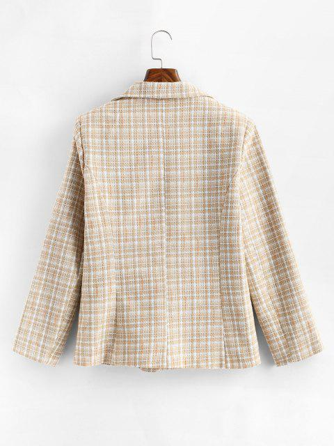 shops One Buttoned Pockets Plaid Tweed Blazer - LIGHT COFFEE S Mobile