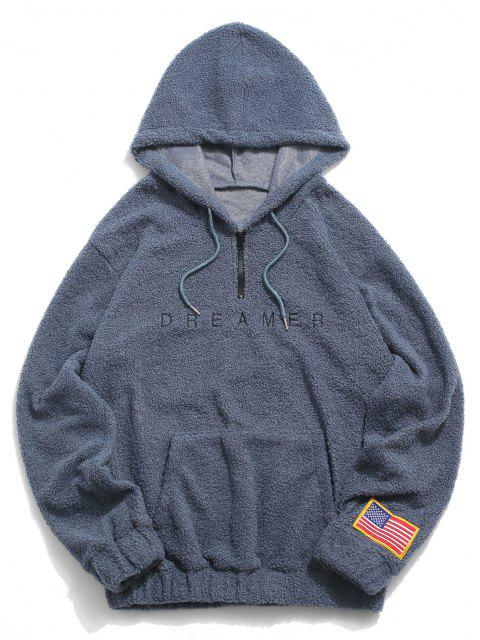 sale Dreamer Embroidery American Flag Patch Teddy Hoodie - BLUE L Mobile
