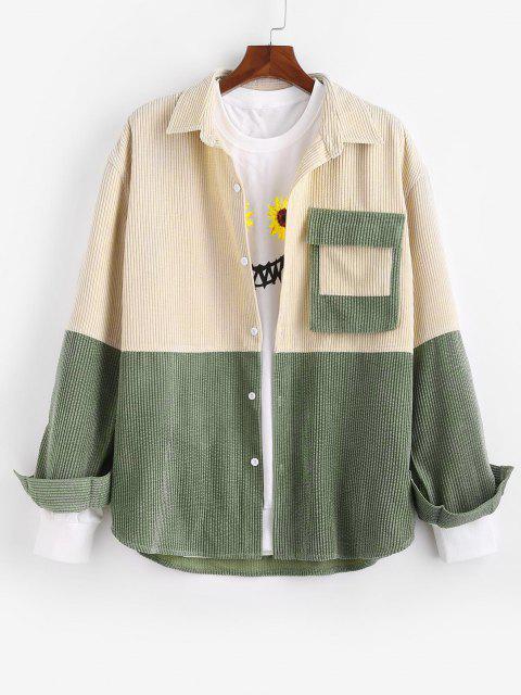 hot Colorblock Patchwork Pocket Corduroy Shirt Jacket - MULTI XL Mobile