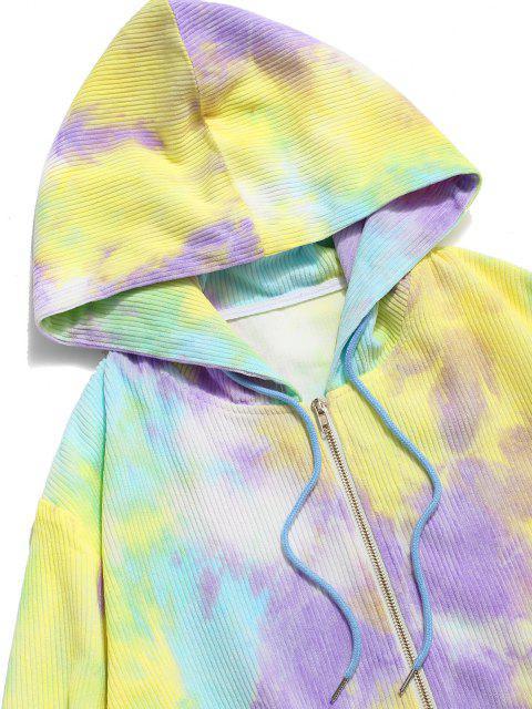 Veste à Capuche Motif Teinté en Velours Côtelé - Jaune XL Mobile