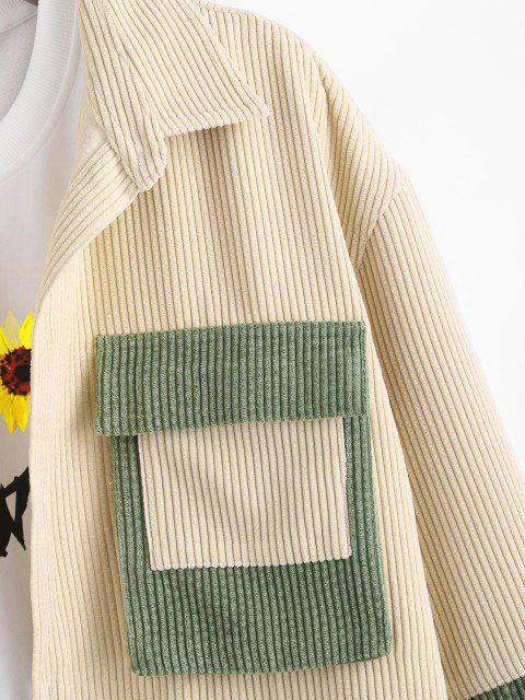 lady Colorblock Patchwork Pocket Corduroy Shirt Jacket - MULTI L Mobile