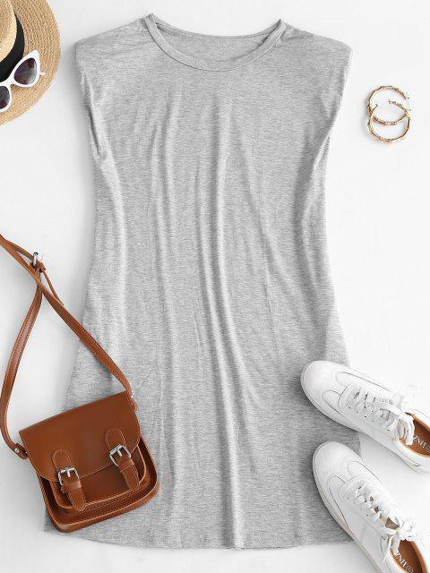 ladies Seam Pockets Shoulder Pads Casual Dress - GRAY M Mobile