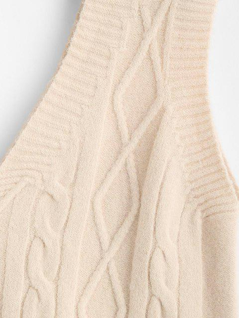 best Cable Knit V-back Sweater Vest - LIGHT COFFEE ONE SIZE Mobile
