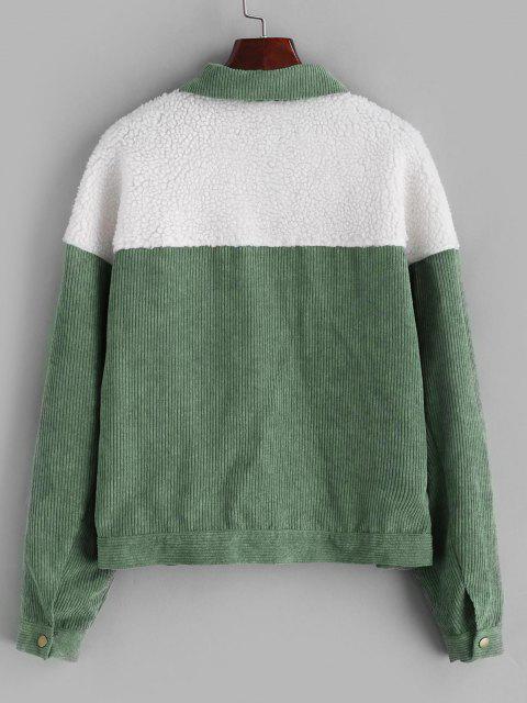 ZAFUL Faux Fur Insert Corduroy Jacket - الجيش الأخضر L Mobile