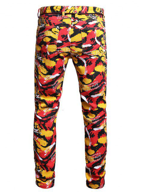 fancy Long Colorful Camouflage Letter Print Jeans - MULTI-A 36 Mobile