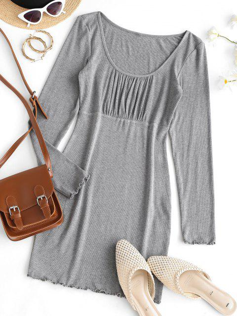 women's ZAFUL Ruched Bust Ribbed Bodycon Mini Dress - BATTLESHIP GRAY L Mobile