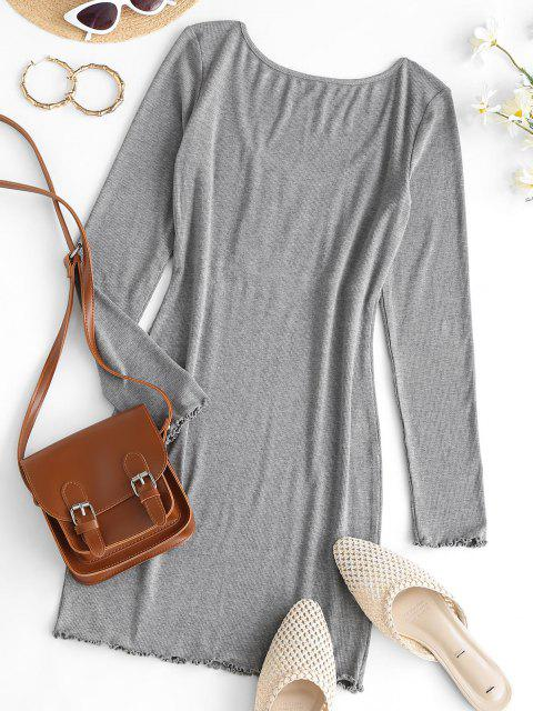 outfits ZAFUL Ruched Bust Ribbed Bodycon Mini Dress - BATTLESHIP GRAY M Mobile