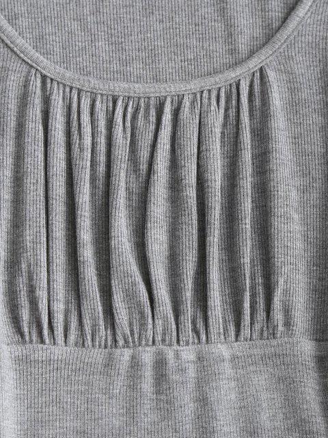 shops ZAFUL Ruched Bust Ribbed Bodycon Mini Dress - BATTLESHIP GRAY XL Mobile
