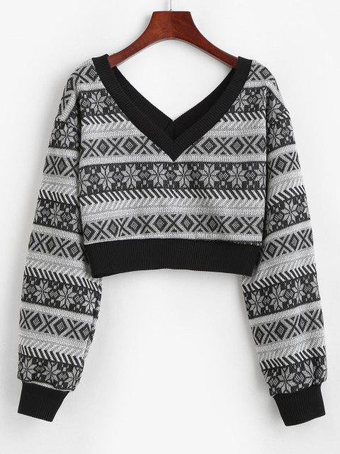chic ZAFUL Drop Shoulder Plunging Crop Sweater - GRAY S Mobile