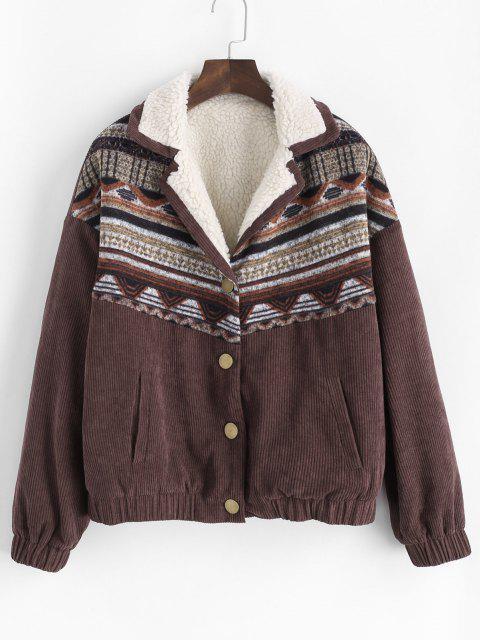 lady ZAFUL Corduroy Faux Fur Lined Tribal Print Jacket - MOCHA S Mobile