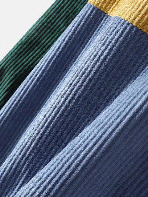 配色パッチワークパネルポケットジャケット - 黄 2XL Mobile