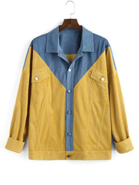 affordable Two Tone Patchwork Flap Pocket Jacket - YELLOW 2XL Mobile