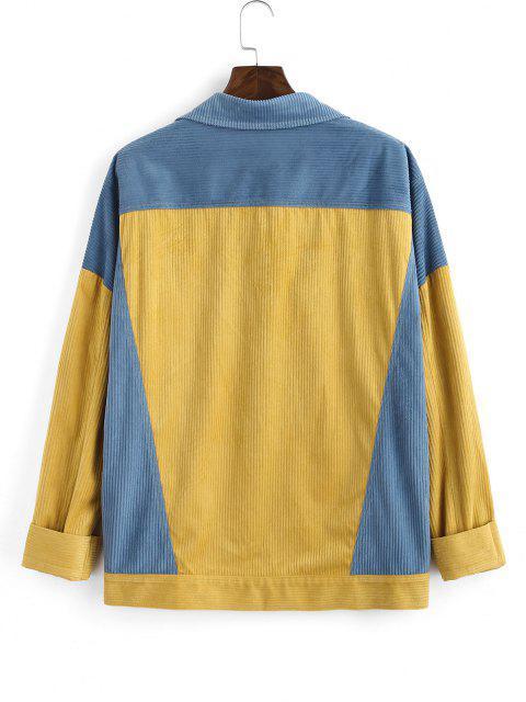 Veste Bicolore Jointif avec Poche à Rabat - Jaune M Mobile