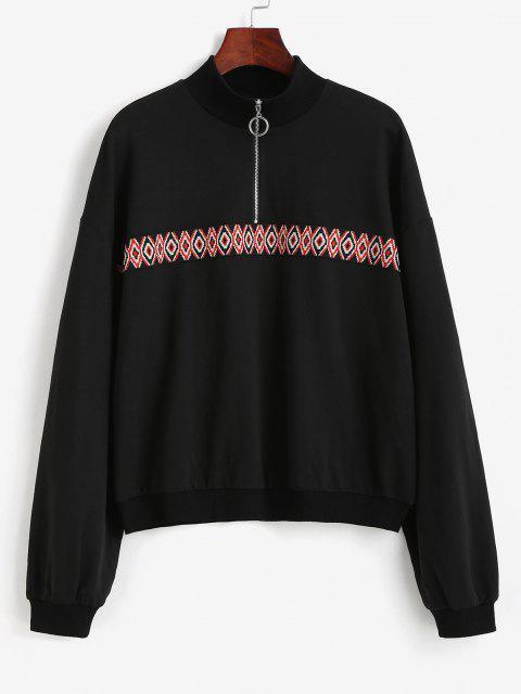 latest Tribal Patchwork Half Zipper Sweatshirt - BLACK XL Mobile