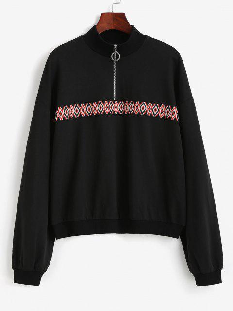Tribal Patchwork Half Zipper Sweatshirt - أسود M Mobile